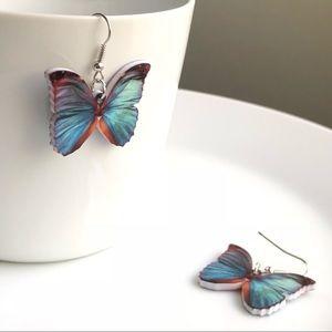 Jewelry - NEW Acrylic Blue Butterfly Earrings